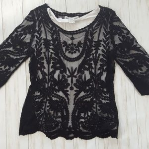 American Rag embroidered mesh lace blouse sz. M